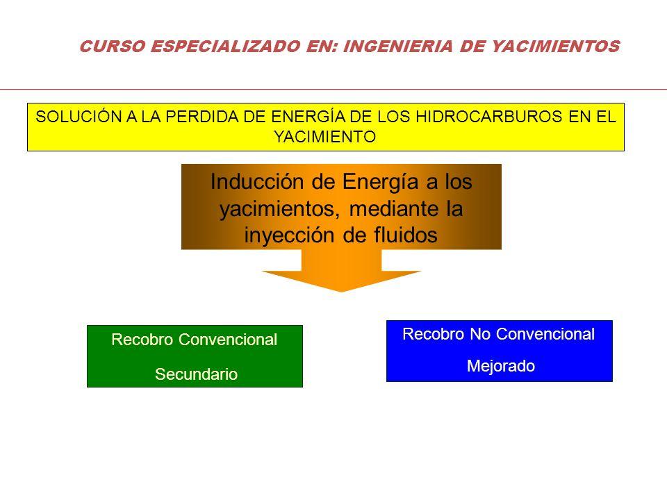 RECUPERACIÓN NO CONVENCIONAL (RECUPERACION MEJORADA DE HIDROCARBUROS) Métodos Químicos Polímero (P) Surfactantes (S) Combinados: (AP, AS, SP y ASP) Espumas, Geles, Emulsiones Microorganismos (Bacterias) Reciclamiento De Gas Métodos Térmicos Vapor de Agua Estimulación (Cíclico) Continuo SAGD VAPEX Combustión In-Situ Calentamiento por Electricidad Gas Miscible Enriquecido CO 2 Nitrógeno CURSO ESPECIALIZADO EN: INGENIERIA DE YACIMIENTOS