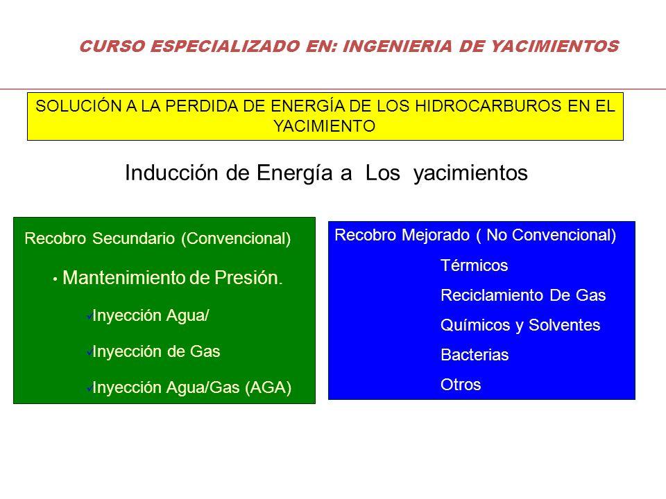 Recobro Secundario (Convencional) Mantenimiento de Presión. Inyección Agua/ Inyección de Gas Inyección Agua/Gas (AGA) Recobro Mejorado ( No Convencion