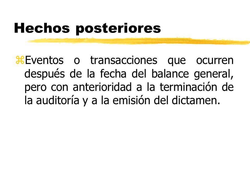 Hechos posteriores zEventos o transacciones que ocurren después de la fecha del balance general, pero con anterioridad a la terminación de la auditorí