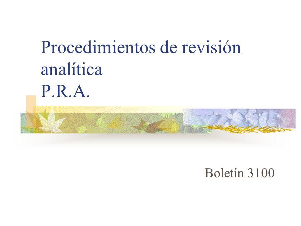 Procedimientos de revisión analítica P.R.A. Boletín 3100