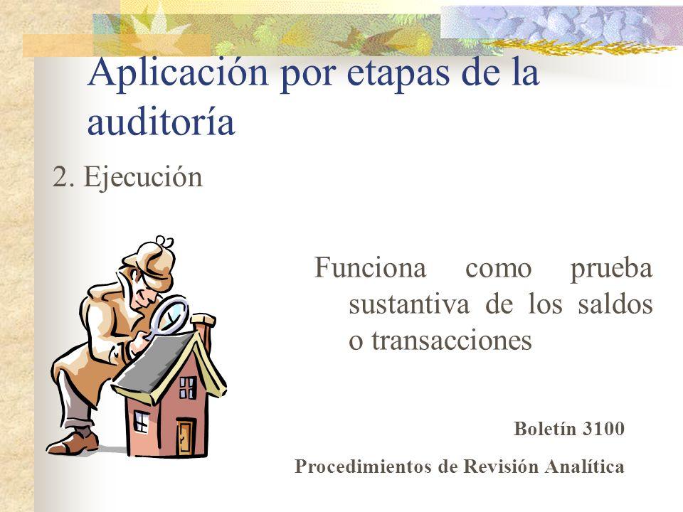 Aplicación por etapas de la auditoría Funciona como prueba sustantiva de los saldos o transacciones 2. Ejecución Boletín 3100 Procedimientos de Revisi