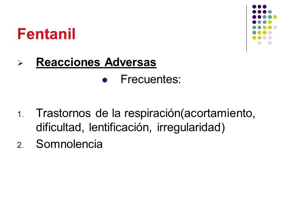 Fentanil Reacciones Adversas Frecuentes: 1. Trastornos de la respiración(acortamiento, dificultad, lentificación, irregularidad) 2. Somnolencia