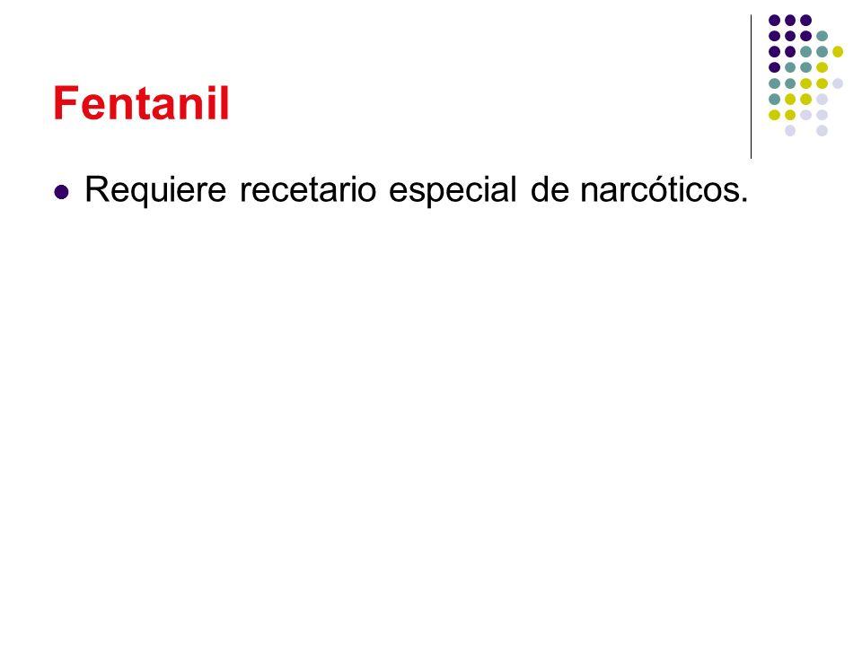 Fentanil Requiere recetario especial de narcóticos.