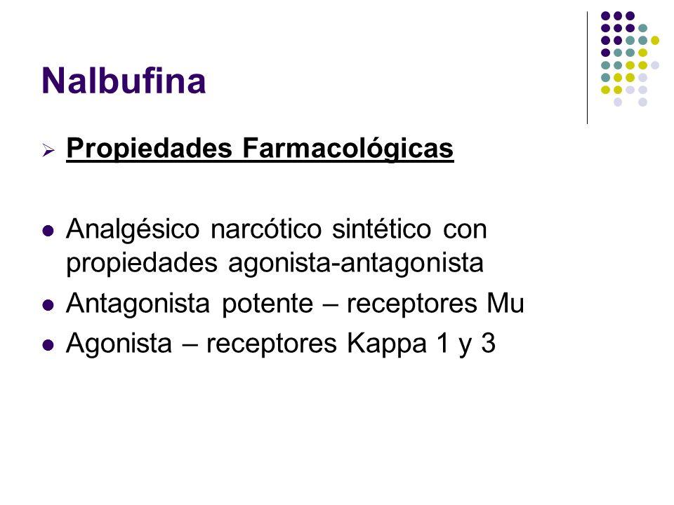 Propiedades Farmacológicas Analgésico narcótico sintético con propiedades agonista-antagonista Antagonista potente – receptores Mu Agonista – receptor