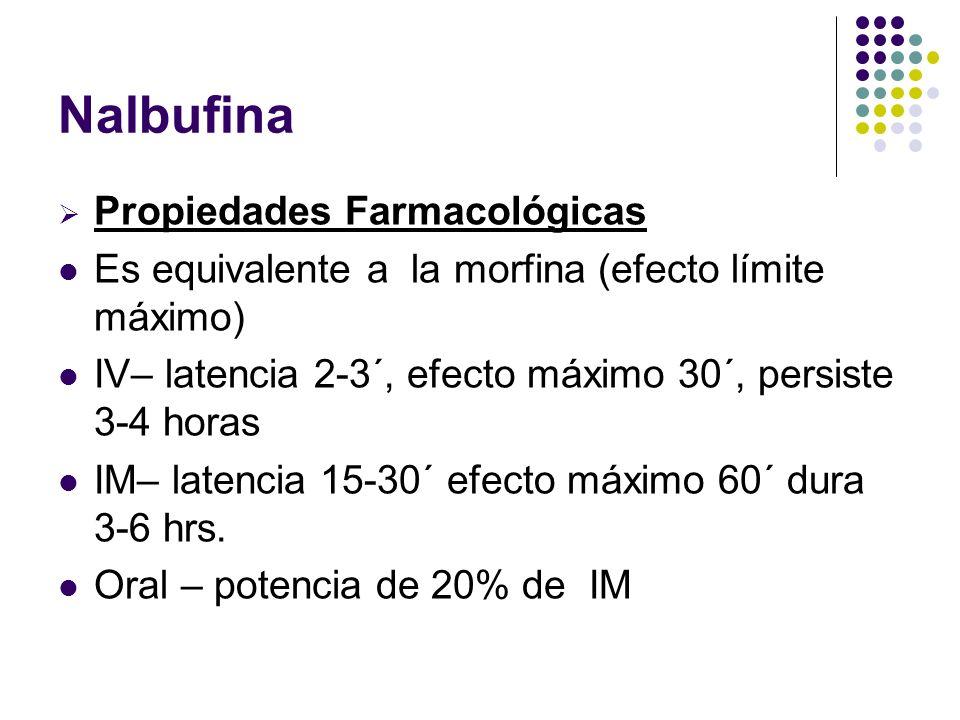 Nalbufina Propiedades Farmacológicas Es equivalente a la morfina (efecto límite máximo) IV– latencia 2-3´, efecto máximo 30´, persiste 3-4 horas IM– l