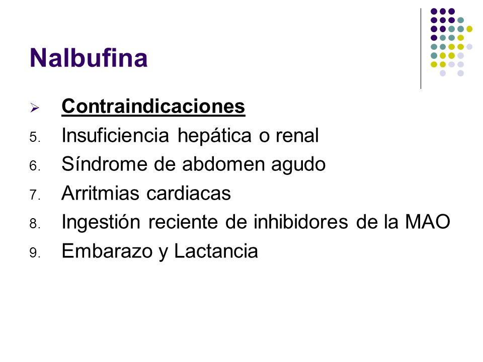 Nalbufina Contraindicaciones 5. Insuficiencia hepática o renal 6. Síndrome de abdomen agudo 7. Arritmias cardiacas 8. Ingestión reciente de inhibidore