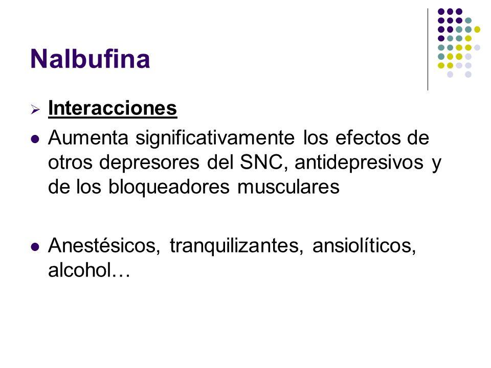 Nalbufina Interacciones Aumenta significativamente los efectos de otros depresores del SNC, antidepresivos y de los bloqueadores musculares Anestésico