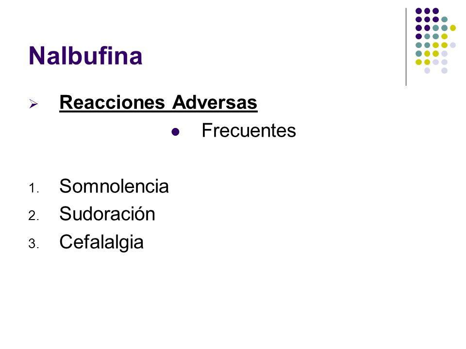 Nalbufina Reacciones Adversas Frecuentes 1. Somnolencia 2. Sudoración 3. Cefalalgia