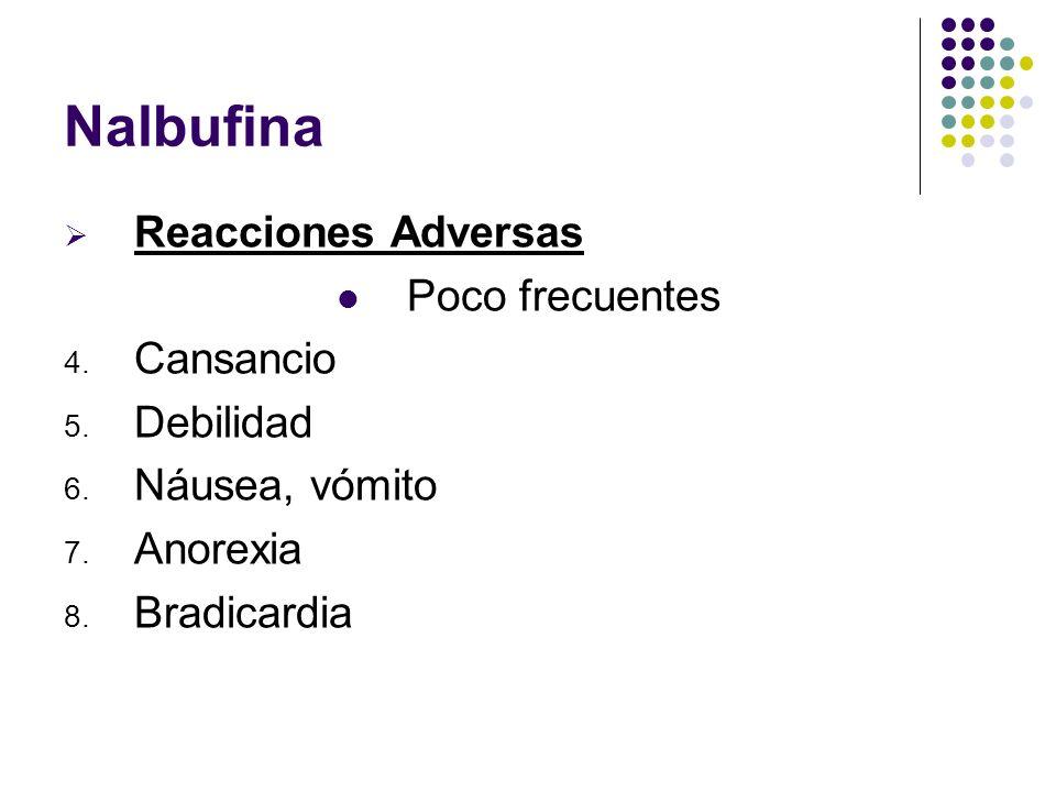 Nalbufina Reacciones Adversas Poco frecuentes 4. Cansancio 5. Debilidad 6. Náusea, vómito 7. Anorexia 8. Bradicardia