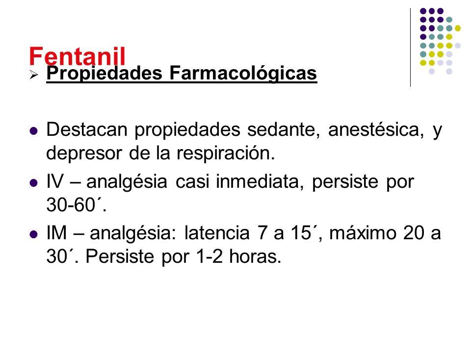 Fentanil Propiedades Farmacológicas Destacan propiedades sedante, anestésica, y depresor de la respiración. IV – analgésia casi inmediata, persiste po