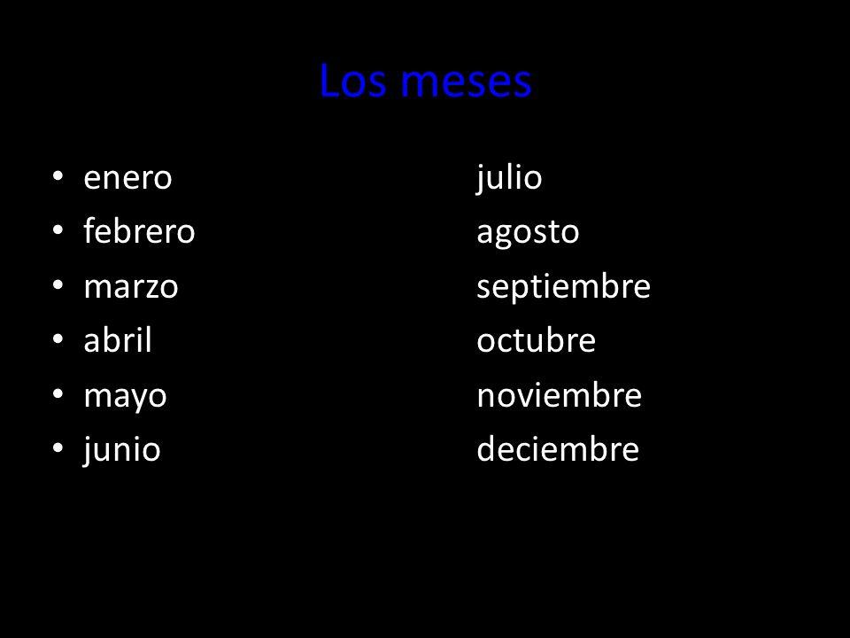 Los meses enerojulio febreroagosto marzoseptiembre abriloctubre mayonoviembre juniodeciembre