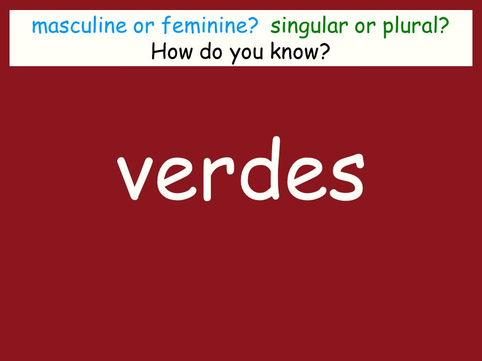 masculine or feminine singular or plural How do you know verdes