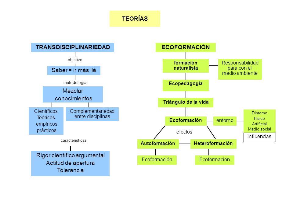 objetivo Científicos Teóricos empíricos prácticos Saber = ir más llá TRANSDISCIPLINARIEDADECOFORMACIÓN Triángulo de la vida formación naturalista TEOR