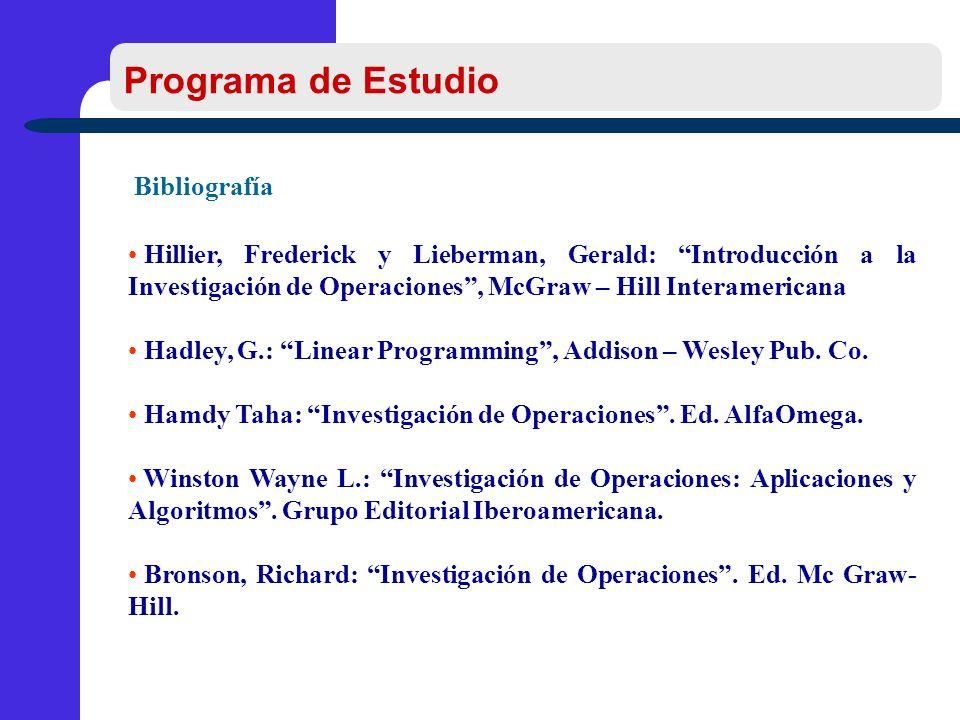 Bibliografía Hillier, Frederick y Lieberman, Gerald: Introducción a la Investigación de Operaciones, McGraw – Hill Interamericana Hadley, G.: Linear Programming, Addison – Wesley Pub.