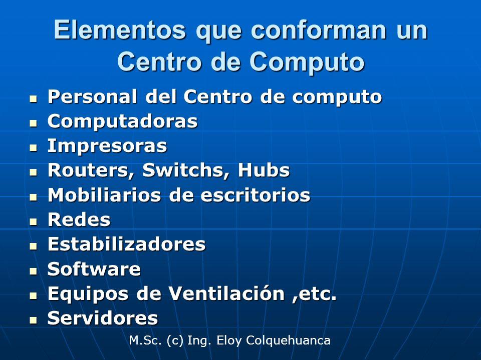 M.Sc. (c) Ing. Eloy Colquehuanca Elementos que conforman un Centro de Computo Personal del Centro de computo Personal del Centro de computo Computador
