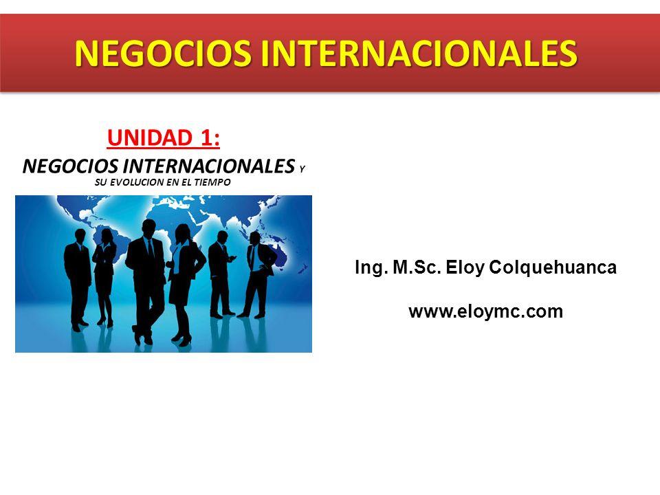 Ing. M.Sc. Eloy Colquehuanca www.eloymc.com UNIDAD 1: NEGOCIOS INTERNACIONALES Y SU EVOLUCION EN EL TIEMPO NEGOCIOS INTERNACIONALES