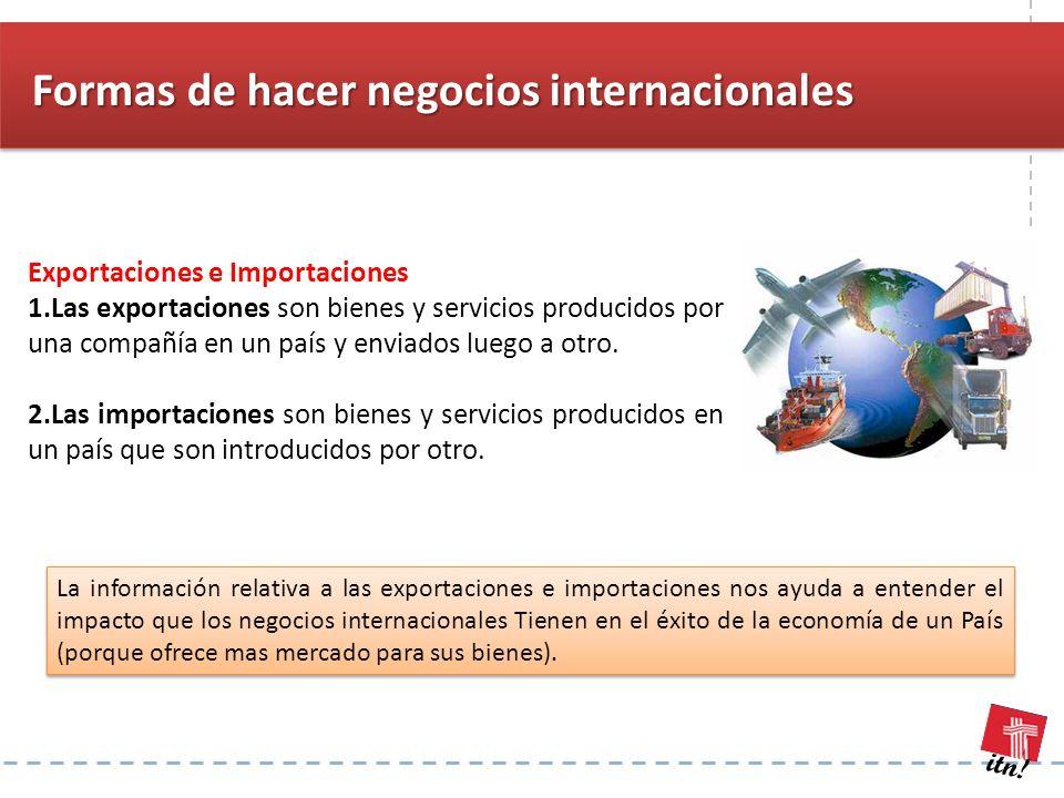 itn! Exportaciones e Importaciones 1.Las exportaciones son bienes y servicios producidos por una compañía en un país y enviados luego a otro. 2.Las im