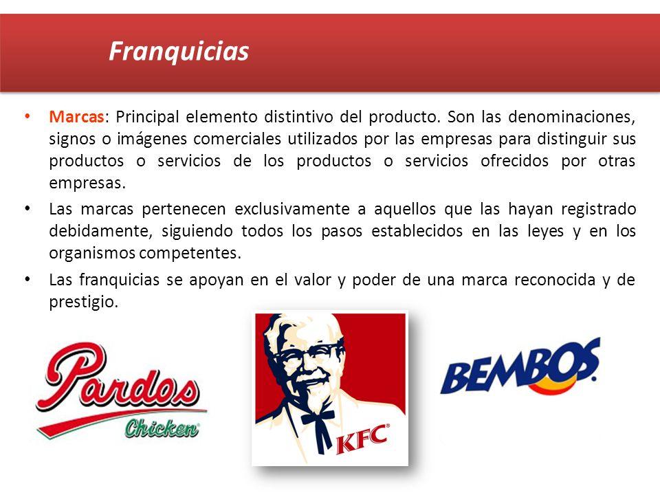 Marcas: Principal elemento distintivo del producto. Son las denominaciones, signos o imágenes comerciales utilizados por las empresas para distinguir