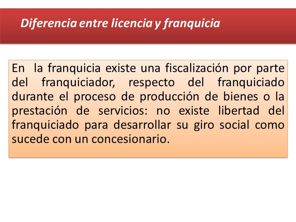 En la franquicia existe una fiscalización por parte del franquiciador, respecto del franquiciado durante el proceso de producción de bienes o la prest