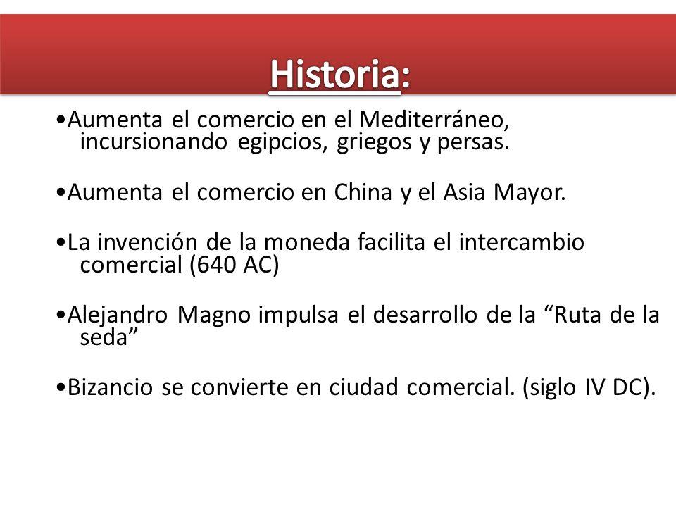 Aumenta el comercio en el Mediterráneo, incursionando egipcios, griegos y persas. Aumenta el comercio en China y el Asia Mayor. La invención de la mon
