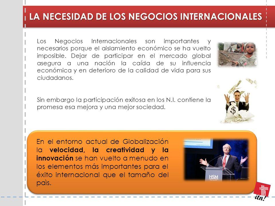 LA NECESIDAD DE LOS NEGOCIOS INTERNACIONALES Los Negocios Internacionales son importantes y necesarios porque el aislamiento económico se ha vuelto im