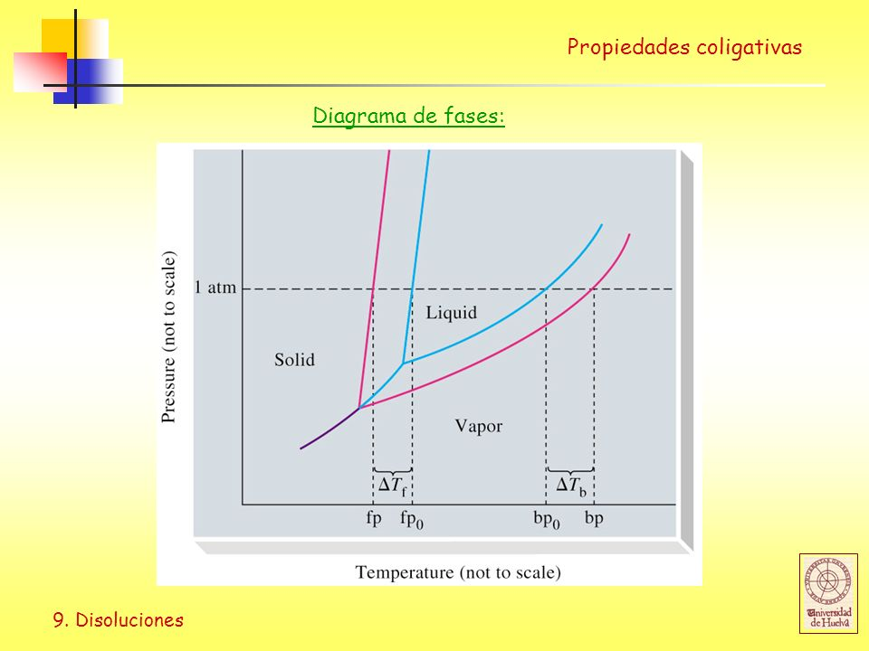 9. Disoluciones Propiedades coligativas Diagrama de fases: