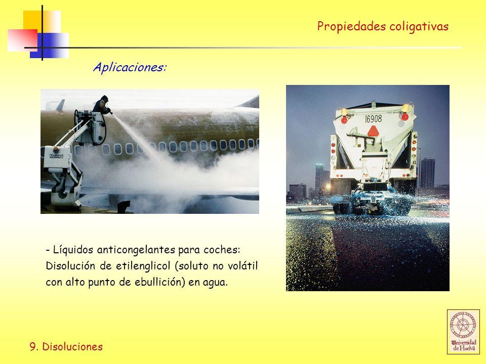 9. Disoluciones Propiedades coligativas - Líquidos anticongelantes para coches: Disolución de etilenglicol (soluto no volátil con alto punto de ebulli