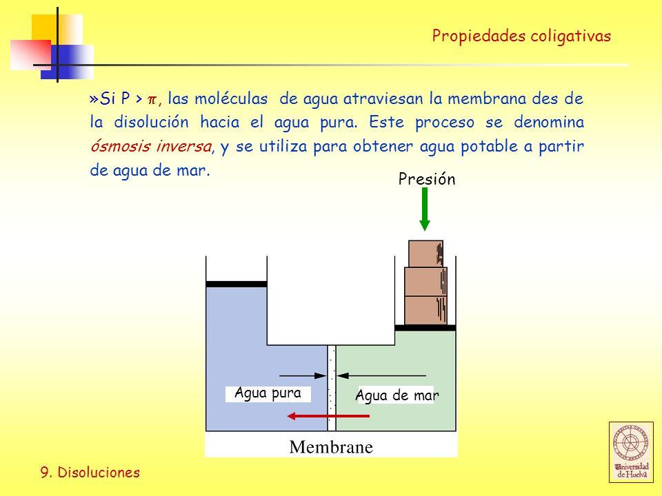 9. Disoluciones Propiedades coligativas »Si P >, las moléculas de agua atraviesan la membrana des de la disolución hacia el agua pura. Este proceso se