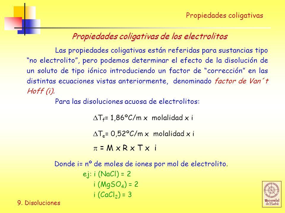 9. Disoluciones Las propiedades coligativas están referidas para sustancias tipo no electrolito, pero podemos determinar el efecto de la disolución de