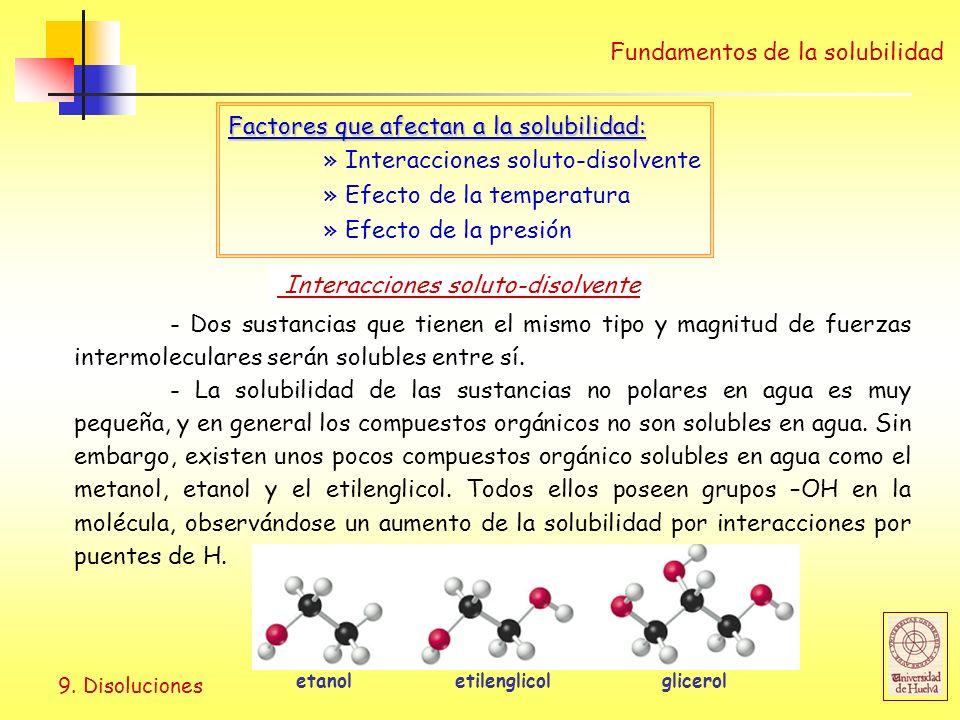 9. Disoluciones Fundamentos de la solubilidad Factores que afectan a la solubilidad: » Interacciones soluto-disolvente » Efecto de la temperatura » Ef