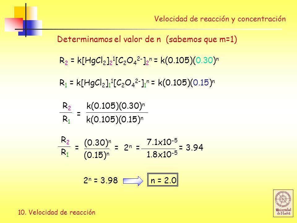 10. Velocidad de reacción R 2 = k[HgCl 2 ] 2 1 [C 2 O 4 2- ] 2 n = k(0.105)(0.30) n R 1 = k[HgCl 2 ] 1 1 [C 2 O 4 2- ] 1 n = k(0.105)(0.15) n 7.1x10 -