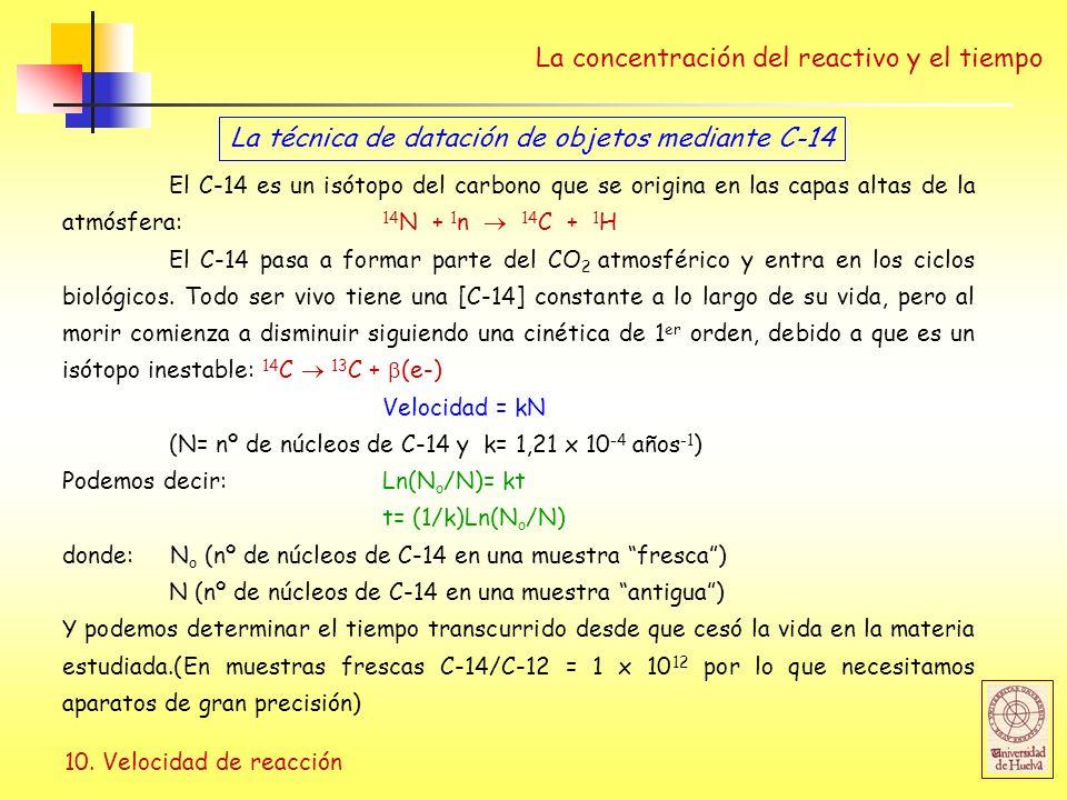 10. Velocidad de reacción La concentración del reactivo y el tiempo La técnica de datación de objetos mediante C-14 El C-14 es un isótopo del carbono