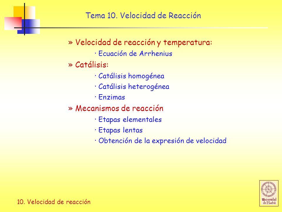 10. Velocidad de reacción » Velocidad de reacción y temperatura: · Ecuación de Arrhenius » Catálisis: · Catálisis homogénea · Catálisis heterogénea ·