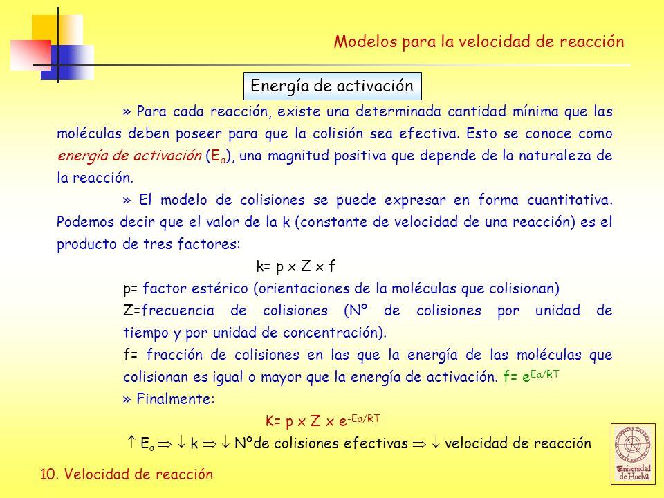 10. Velocidad de reacción Modelos para la velocidad de reacción » Para cada reacción, existe una determinada cantidad mínima que las moléculas deben p