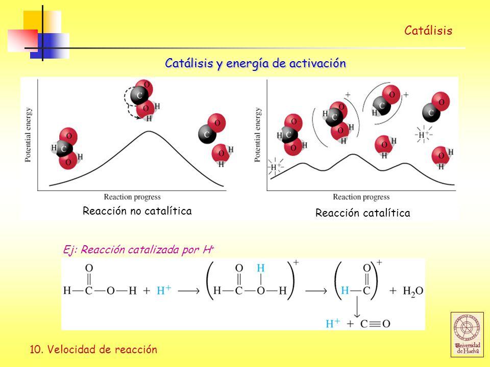 10. Velocidad de reacción Catálisis Catálisis y energía de activación Reacción no catalítica Reacción catalítica Ej: Reacción catalizada por H +