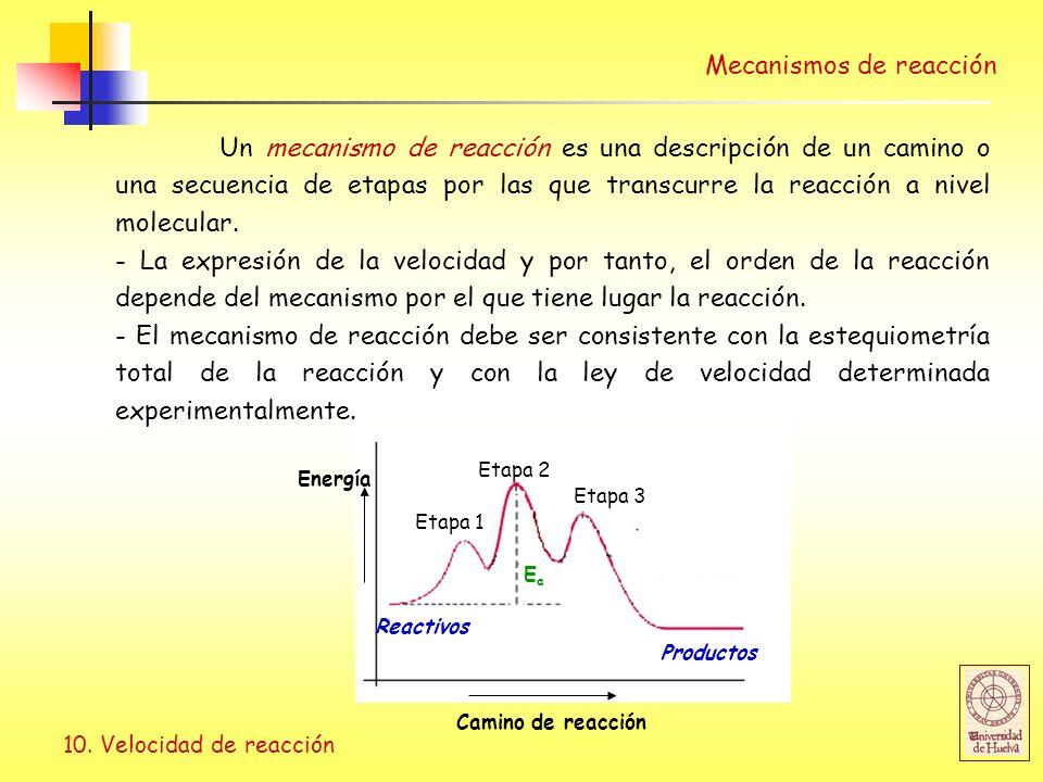 10. Velocidad de reacción Mecanismos de reacción Un mecanismo de reacción es una descripción de un camino o una secuencia de etapas por las que transc