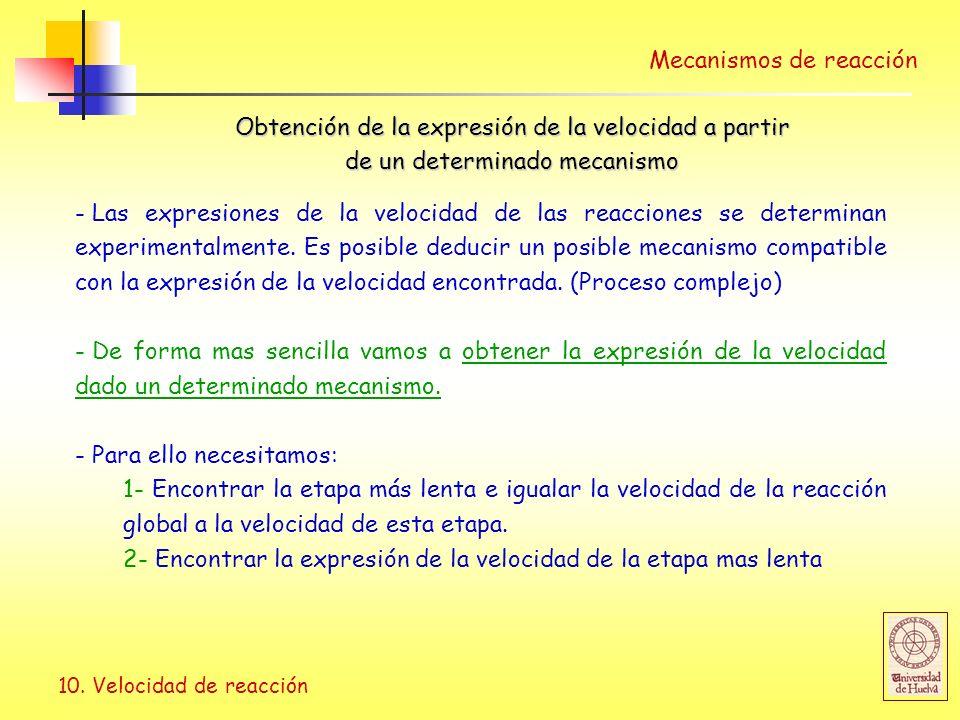 10. Velocidad de reacción Mecanismos de reacción Obtención de la expresión de la velocidad a partir de un determinado mecanismo - Las expresiones de l