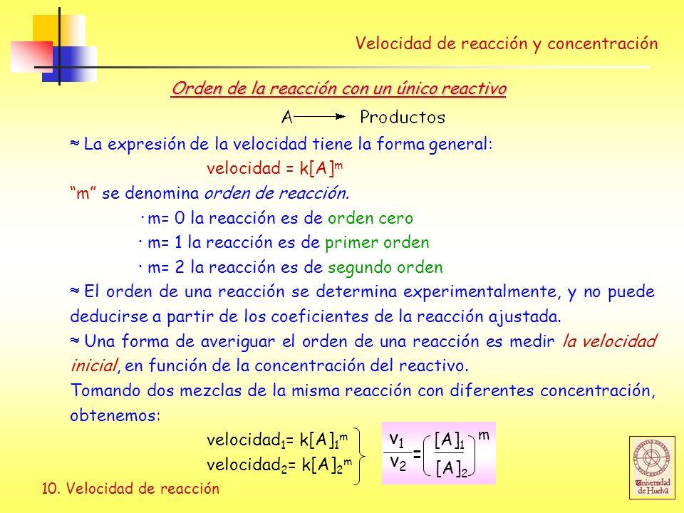 10. Velocidad de reacción La expresión de la velocidad tiene la forma general: velocidad = k[A] m m se denomina orden de reacción. · m= 0 la reacción