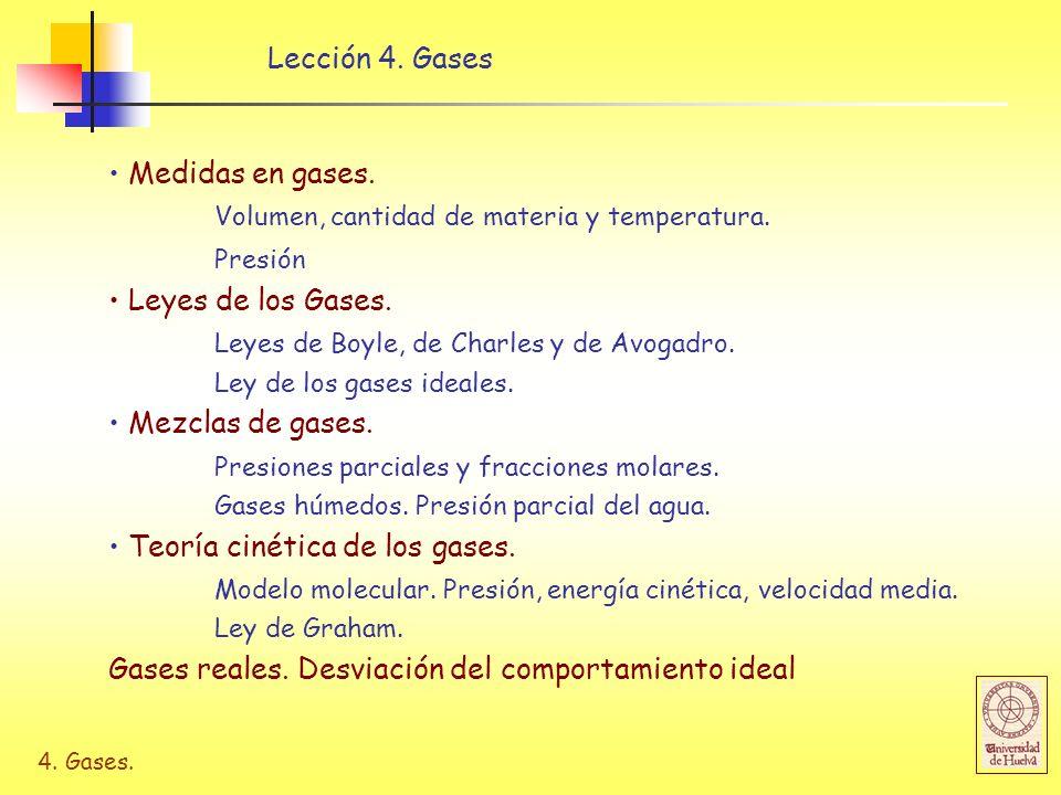4. Gases. Lección 4. Gases Medidas en gases. Volumen, cantidad de materia y temperatura. Presión Leyes de los Gases. Leyes de Boyle, de Charles y de A