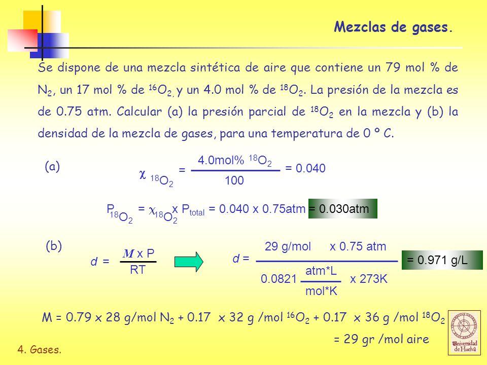 4. Gases. Se dispone de una mezcla sintética de aire que contiene un 79 mol % de N 2, un 17 mol % de 16 O 2, y un 4.0 mol % de 18 O 2. La presión de l