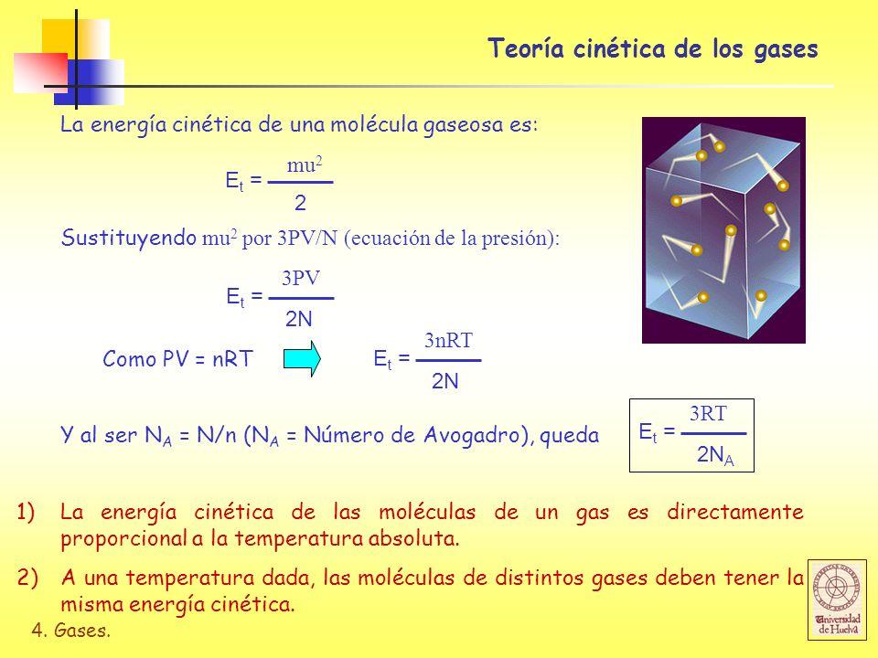 4. Gases. Teoría cinética de los gases La energía cinética de una molécula gaseosa es: E t = 2 mu 2 Sustituyendo mu 2 por 3PV/N (ecuación de la presió
