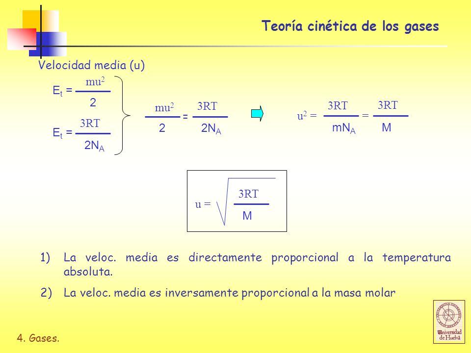 4. Gases. Teoría cinética de los gases Velocidad media (u) E t = 2 mu 2 E t = 2N A 3RT 2 mu 2 2N A 3RT = u 2 = mN A 3RT M = M u = 1)La veloc. media es