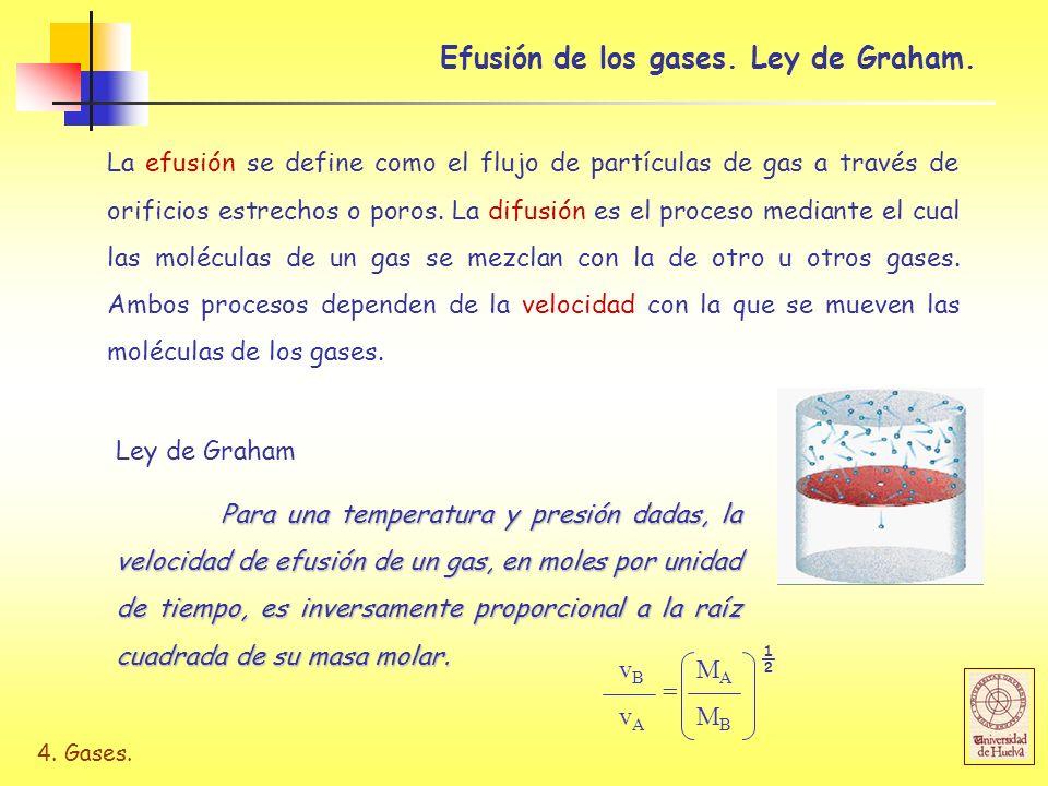 4. Gases. Efusión de los gases. Ley de Graham. La efusión se define como el flujo de partículas de gas a través de orificios estrechos o poros. La dif