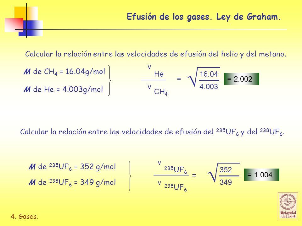 4. Gases. Calcular la relación entre las velocidades de efusión del helio y del metano. Efusión de los gases. Ley de Graham. Calcular la relación entr