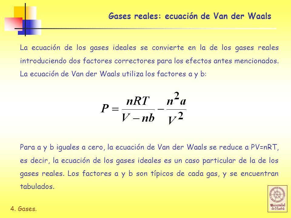 4. Gases. Gases reales: ecuación de Van der Waals La ecuación de los gases ideales se convierte en la de los gases reales introduciendo dos factores c