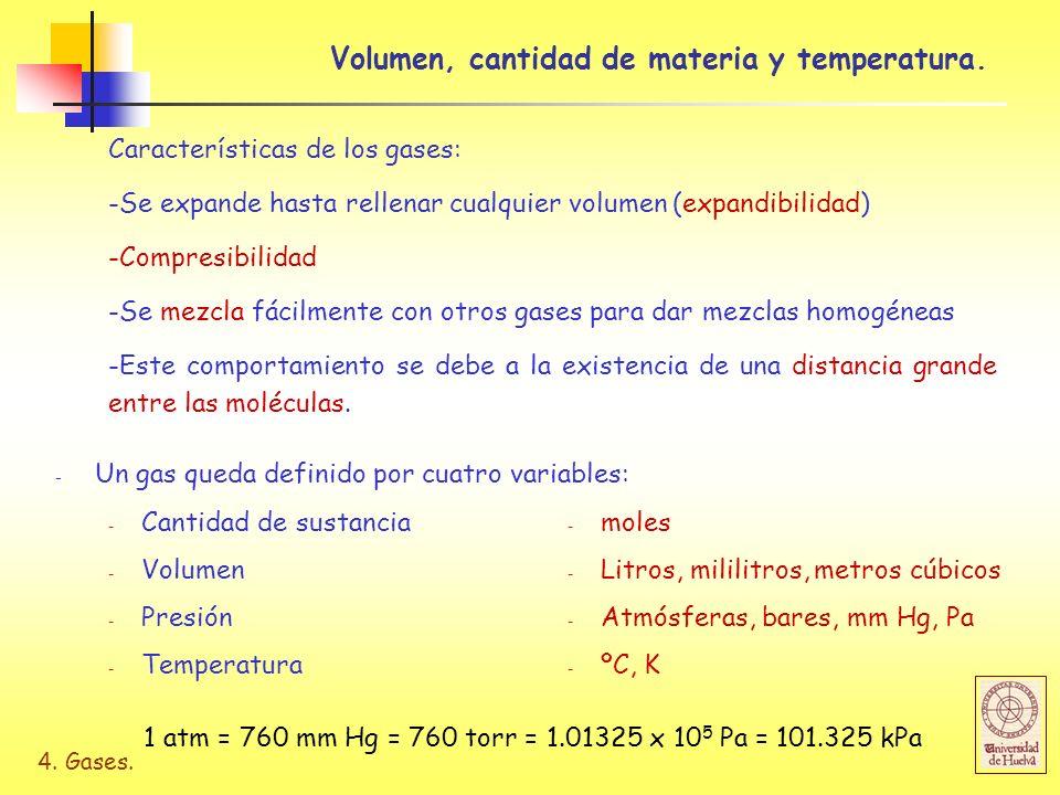 4. Gases. Volumen, cantidad de materia y temperatura. Características de los gases: -Se expande hasta rellenar cualquier volumen (expandibilidad) -Com