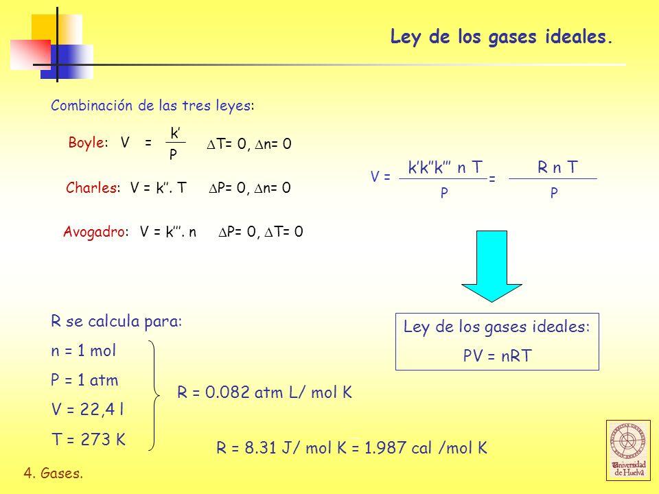 4. Gases. Combinación de las tres leyes: P Boyle: V= k T= 0, n= 0 Charles: V = k. T P= 0, n= 0 Avogadro: V = k. n P= 0, T= 0 V = P kkk n T = P R n T L