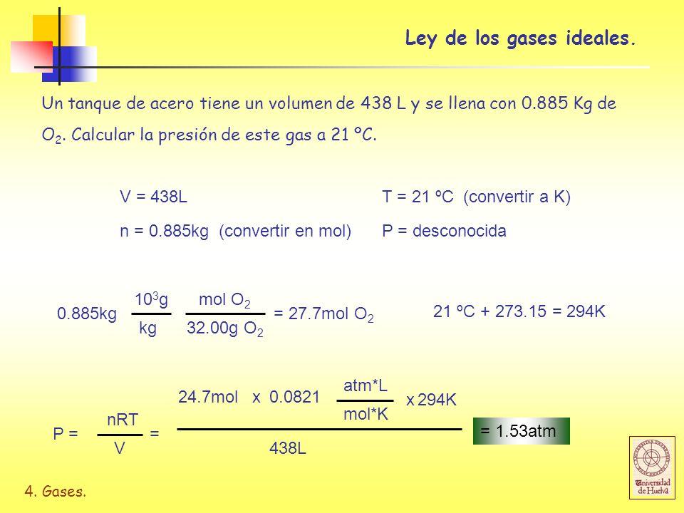 4.Gases. u B M A u A M B = ½ La veloc. media es inversamente proporcional a la masa molar.