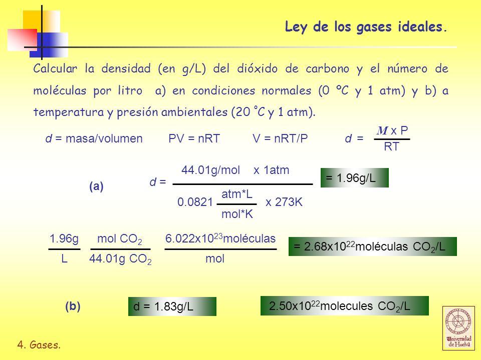 4. Gases. Calcular la densidad (en g/L) del dióxido de carbono y el número de moléculas por litro a) en condiciones normales (0 ºC y 1 atm) y b) a tem