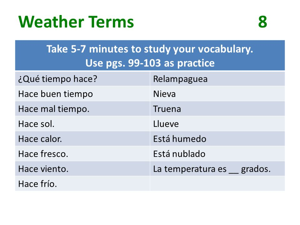 Weather Terms8 Take 5-7 minutes to study your vocabulary.
